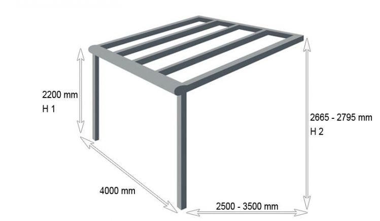 Terrassenüberdachung aus pulverbeschichtetem Aluminium mit 4000 mm Breite. Erhältlich in den Farben Reinweiß und Anthrazit