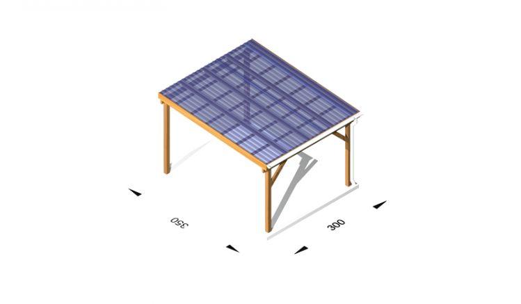 Terrassen Überdachung aus Leimholz /  Holz (kdi), 3 x 3,5m, 11,5er Pfosten, inkl. Kunststoffbedachung und Kopfbänder