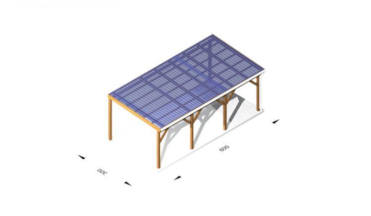 Terrassendach Bausatz aus Leimholz /  Holz (kdi), 6 x 3m, 11,5er Pfosten, inkl. Kunststoffbedachung und Kopfbänder