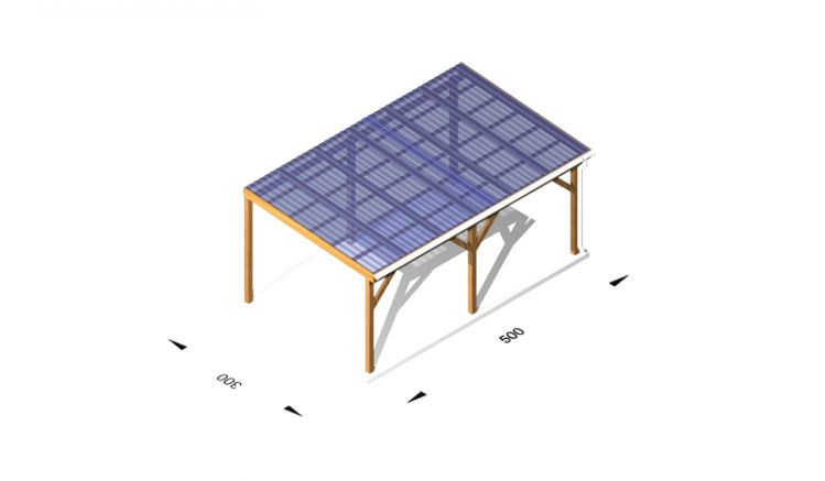 Terrassendächer aus Holz (kdi) / Leimholz, 5 x 3m, 11,5er Pfosten, inkl. Kunststoffbedachung und Kopfbänder