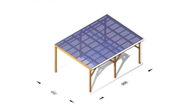 Terrassendach aus Leimholz / Holz (kdi), 5 x 3,5m, 11,5er Pfosten, inkl. Kunststoffbedachung und Kopfbänder