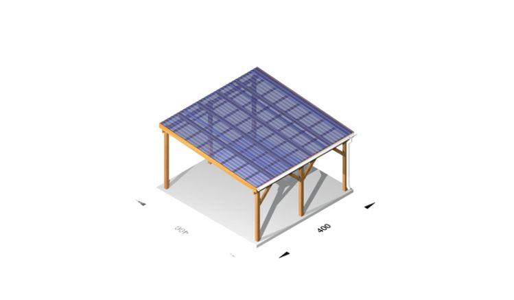 Terrasseüberdachung aus Plexiglas und Leimholz /  Holz (kdi), 4 x 4m, 11,5er Pfosten, inkl. Kunststoffbedachung und Kopfbänder