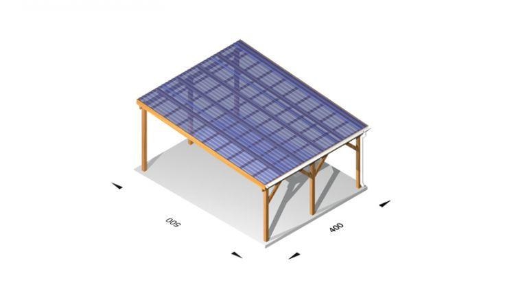 Stegplatten Terrassenüberdachung Bausatz aus Leimholz /  Holz (kdi), 4 x 5m, 11,5er Pfosten, inkl. Kunststoffbedachung und Kopfbänder