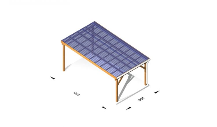 Terrassenüberdachung mit Bauanleitung aus Leimholz /  Holz (kdi), 3 x 5m, 11,5er Pfosten, inkl. Kunststoffbedachung und Kopfbänder