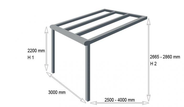 Für kleine Ansprüche: Die 3000 mm Alu Terrassenüberdachung Golden XS. Sie können zwischen sieben verschiedenen Farben wählen
