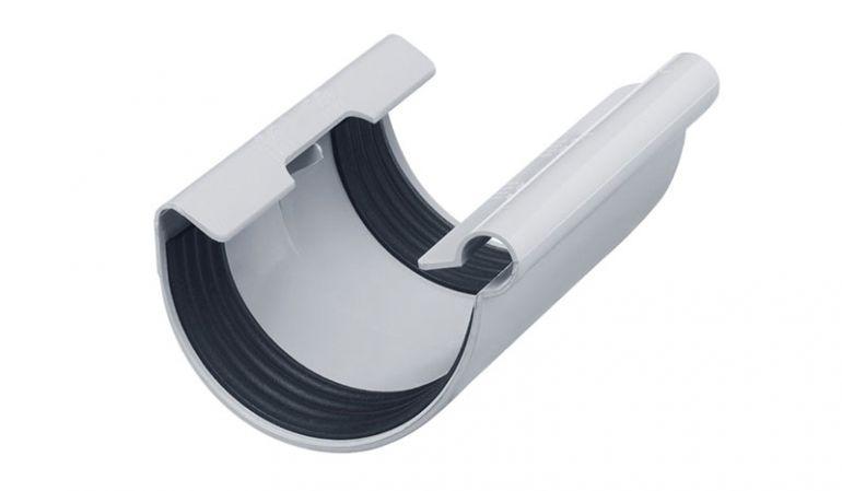 Der Inefa Dachrinnen-Verbinder mit Temperaturskala für den Dehnungsausgleich. Erhältlich in den Farben Weiß, Braun und Grau