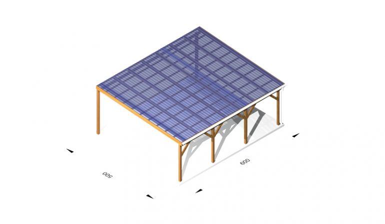 Terassendach Bausatz mit Kunststoffbedachung, wahlweise aus Holz (kdi) / Leimholz, 6 x 5m, 11,5er Pfosten, inkl. Kopfbänder