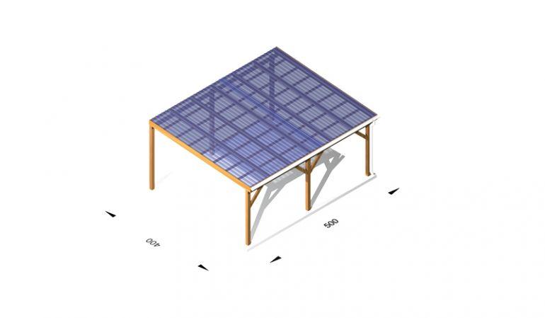 Terrassendach Bausatz, günstig, aus Holz / Leimholz, 5 x 4m, 11,5er Pfosten, inkl. Kunststoffbedachung und Kopfbänder