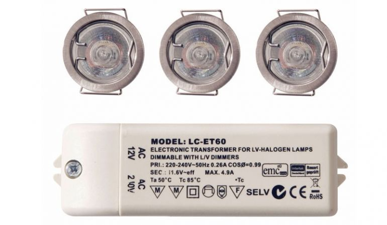 LED-Spotset inklusive drei Strahlern (2 W, 500 mA, 2700 k, 145 lm), 220V-Trafo und 3,5 m Verbindungskabel